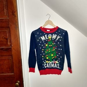 WELL WORN Ugly Christmas Meowy Catmas Sweater